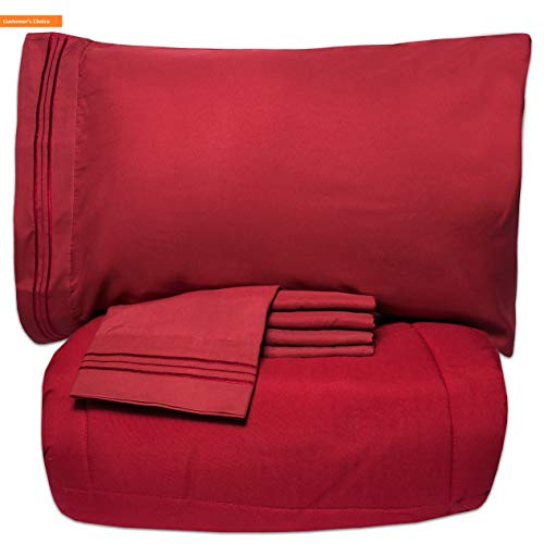 Reflections Saver Shelves Space - Mikash New Soft Luxury 5 Piece Bed-in-A-Bag Solid Color Comforter and Sheet Set, Queen, Burgundy   Style 84599751