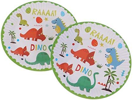 BESTONZON 10pcs Platos de papel dinosaurio con dibujos platos desechables para la fiesta de cumpleaños de boda Suministros (7 pulgadas)