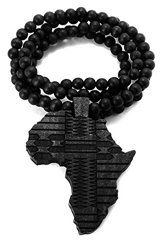 """NYFASHION101 African Tribal Pattern Africa Wood Pendant 36"""" Wooden Bead Chain Necklace, Black"""