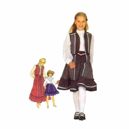Simplicity 5162 Sewing Pattern Girls GUNNE SAX Skirt Blouse Quilted Vest Size 6 -