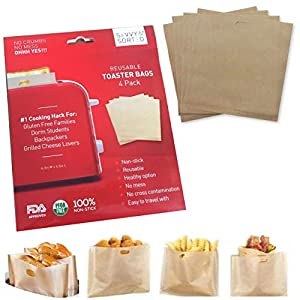 Premium Non Stick Toaster Bag (4pk) – Grilled Cheese Toaster Bags Heat Resistant, Reusable & Easy to Clean – Ultimate NO MESS Sandwich Toaster – Ideal for Gluten Free Celiac Travel Dorm Office