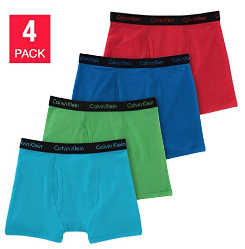 Calvin Klein Cotton Stretch Boys Boxer Briefs (4 Pack) (Small, Blue-Red-SkyBlue-Green)