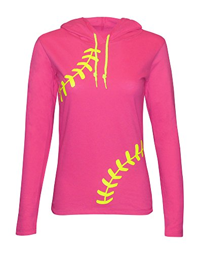 Zone Apparel Softball Women's Hoodie T-Shirt - Laces - Medium Pink (Softball Sports Sweatshirt)