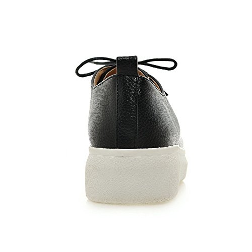Allhqfashion Donna Stringate Tacco Basso Tacco Basso Pompe-scarpe Nere