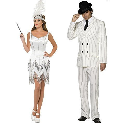Decades Couple Costumes (Fancy Me Men's Decade Gangster Flapper Couple Mob Mafia Moll Fancy Costume UK 8-10 & Mens Medium White)