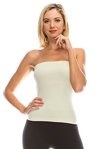 Kurve Medium Length Tube Top with Built-in Shelf Bra, UV Protective Fabric UPF 50+ (Made with Love in The USA) Cream - Ivory Strapless Tube Top