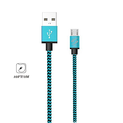 StyleTech Inc. Aluminum Nylon Braided Series 10 Feet Micro-USB Syncing/Charging Data Cable for Android, Samsung, HTC, Windows, Motorola, Tablets, and other devices (1.) Blue)