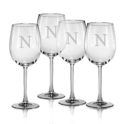 4 Wine Glass Letter - Set of 4 All Purpose Wine Glass 16 oz. Single Letter Monogram