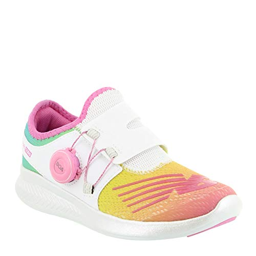 New Balance Girls' Reveal V1 Running Shoe, White/Rainbow, 1.5 M US Little Kid