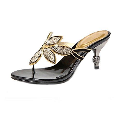 U-MAC Womens Thong Flip-Flops Heeled Sandals Faux Rhinestone Bohemian Stiletto Party Slippers Black