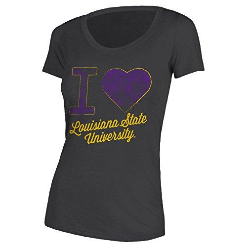 Louisiana State University Jersey - NCAA Louisiana State University Women's Relaxed Fit Tee, Small, Heather Dark Grey