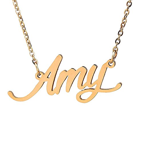 HUAN XUN Gold Plated Cursive Curved Name Necklace, (Gold Fairy Necklace)