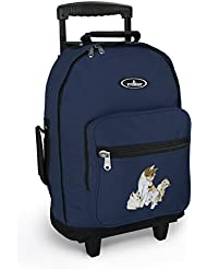 Cute Cats Rolling Backpack Navy Kitten Wheeled Travel or School Carry-On Travel