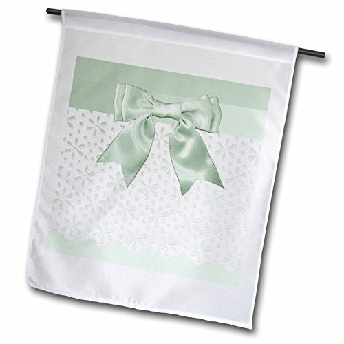 Eyelets Pastel - Beverly Turner Wedding Attendant and Bridal Party - Pastel Green Satin Bow Look on Flowered Eyelet Look - 12 x 18 inch Garden Flag (fl_244127_1)