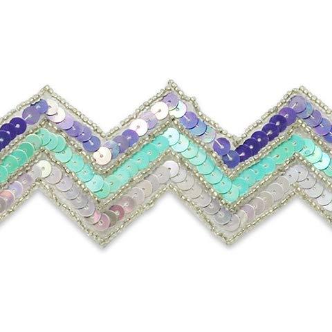 2in Chevron Sequin Trim Lavender Multi (Precut 10 Yard) by 5631 Braxton Drive