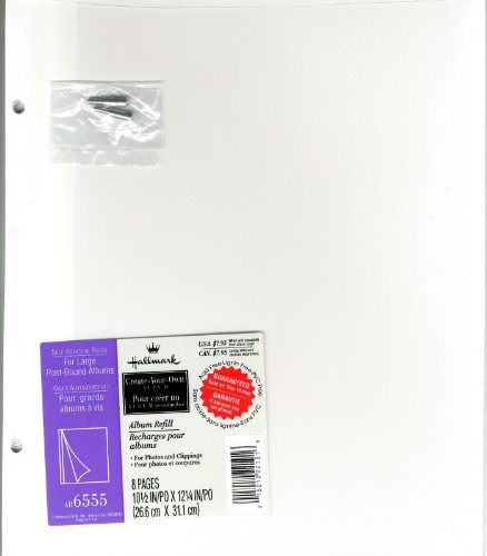 Hallmark Large Choose-Your-Own Album AR6555 Self-Adhesive Refill Pages For Large 2-Ring or Post Bound Albums by Hallmark
