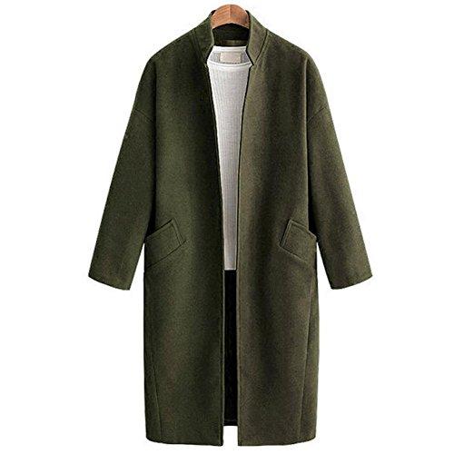 Cárdigan Parte Estar Chaquetas Melton Sobretodo Abrigos Ejercito Mujer Superior Collar Moda Señoras 80store Verde Lana Sintió 8H5wqPA