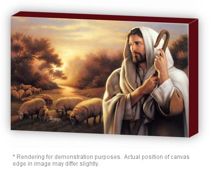 Gatsbe Exchange Oil Painting On Canvas Jesus Christ The Good Shepherd 20 x 30 Mounted Wrap Ready to Hang