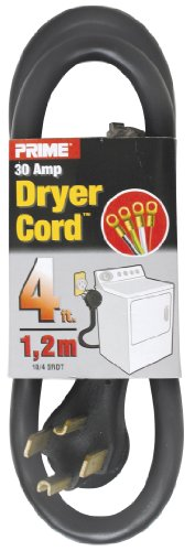 4' Wire Pull (Prime RD100404L 3-Pole 4-Wire SRDT 30A 125/250-Dryer Cord Volt, Black, 4-Feet)