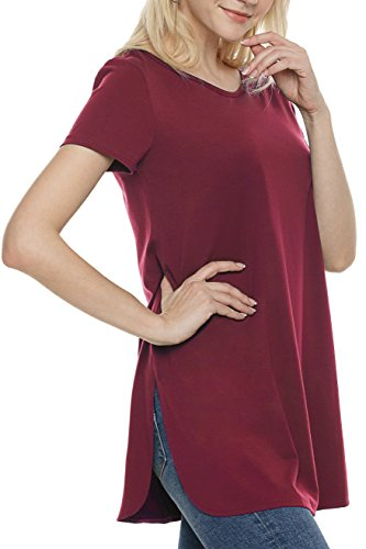 Ortilerri Short Sleeve Casual Loose Tunic Tops, Side Slit T Shirt for Women (Wine Red, XXL)