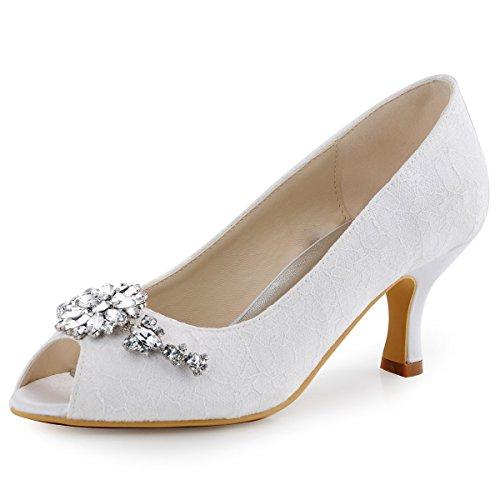 ElegantPark HP1539 Mujer Tacón Medio Zapatillas Peep Toe Flores Rhinestone Cordón Zapatos De Boda Blanco