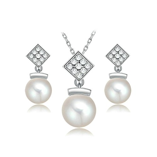 Epinki Platinum Plated Womens Jewelry Set Necklace and Earrings Cubic Zirconia Pearl White Gold