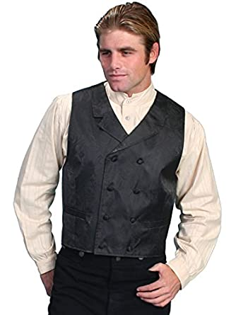 Men's Steampunk Vests, Waistcoats, Corsets Paisley Print Double Breasted Vest Big And  AT vintagedancer.com
