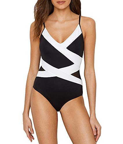 Anne Cole Women's Mesh Spliced Over The Shoulder Sexy One Piece Swimsuit, Color Block Black/White, 14