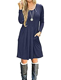 f333e2c6 Women Long Sleeve Pockets Pleated Loose Swing Casual Short T Shirt Dress