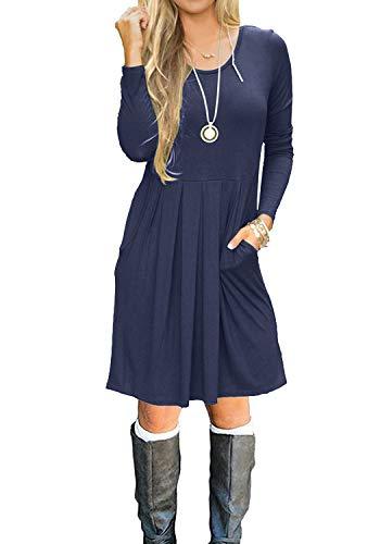 Long Sleeve Pleated Loose Swing Casual Short Dress Deep Blue L ()