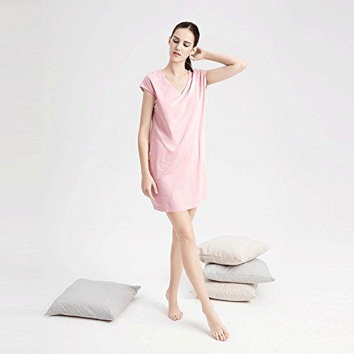 MH-RITA Cotton Nightdress girl summer short sleeve V-Neck sexy pajamas female Nightdress, long thin,xl, sepia toner