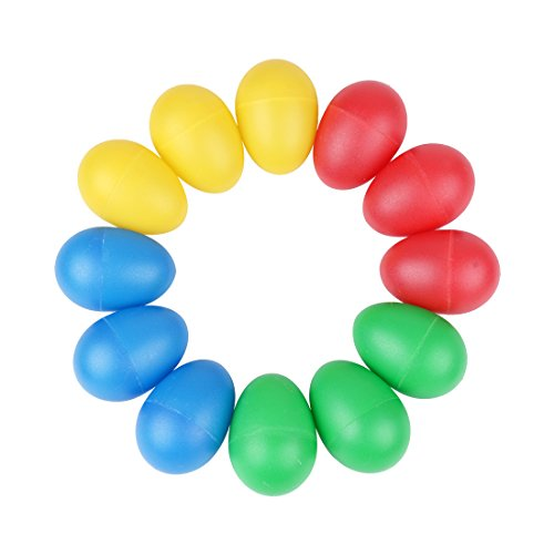 Ilyever 12 Pack Colorful Egg Shaker Set Percussion Musical M