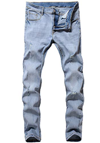 ZLZ Men's Ripped Skinny Distressed Destroyed Slim Fit Stretch Biker Jeans Pants with Holes (Light Blue, 36) ()
