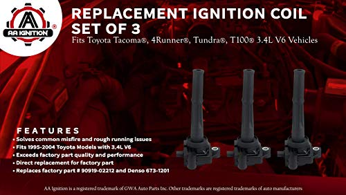 Ignition Coil Pack Set of 3 - Coil Pack Fits Toyota Tacoma, 4Runner,  Tundra, T100 3 4L V6 Models - Replaces Part 90919-02212 - Models Years 95,  96,