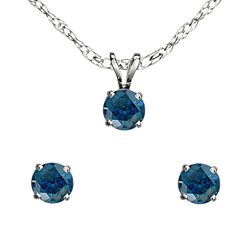 0.25 Carat (ctw) Sterling Silver Round Blue Diamond Ladies Stud Earring & Pendant Set 1/4 CT