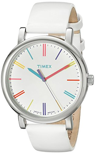 (Timex Women's T2N791AB Originals Stainless Steel Watch with White Leather Band )
