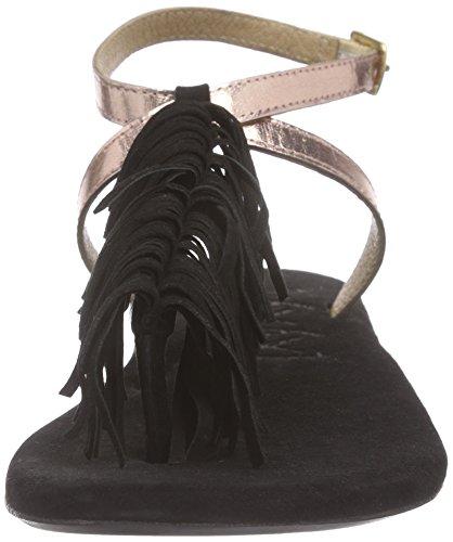 xyxyx Sandale - Sandalias de dedo Mujer Negro - Schwarz (copper)