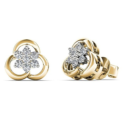 (JewelAngel Women's 10K Yellow Gold 1/8 Carat TDW Diamond Flower Stud Earrings (H-I, I1-I2) )