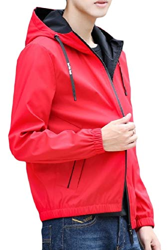 Red Coat Plus Pocket Long Size Outwear Men Lounge Zipper Hood Sleeve XINHEO 1nPOqc