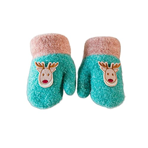 Digood Toddler Newborn Baby Girls Boys Christmas Deer Thick Flock Mittens Warm Gloves With String (1-3 Years old, Light Blue)