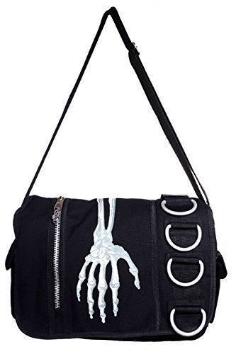 Escuela Fangbanger Punk Mano Bolso By Rockabilly Messenger Negro Diseño Esqueleto Apparel De Prohibido Banned Con 7FtwxzOUUq
