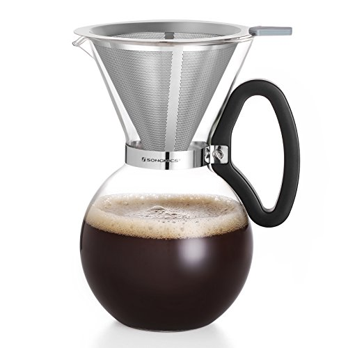 SONGMICS 34 Oz Pour Over Coffee Maker Dripper 8 Cups, Borosilicate Glass Coffee Pot, Reusable Double Mesh Stainless Steel Filter UGCP30TB