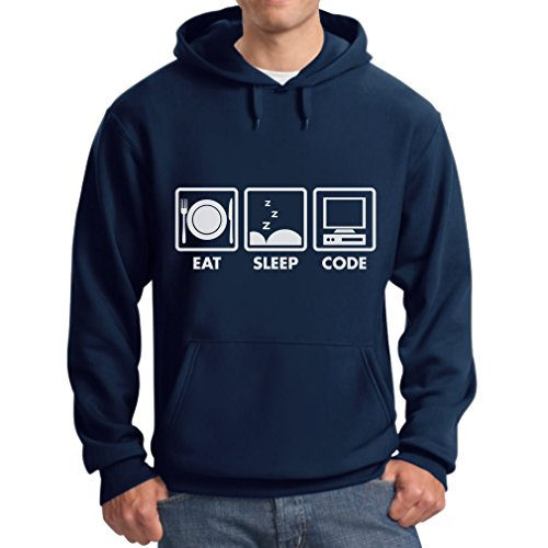 TeeStars - Eat Sleep Code - Funny Programmer Coder Hoodie Medium Blue