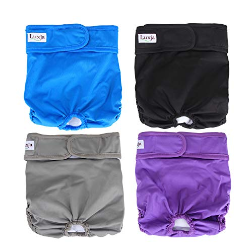 LUXJA Reusable Female Dog Diapers (Pack of 4), Washable Wraps for Female Dog (Medium, Gray+Purple+Black+Blue) ()