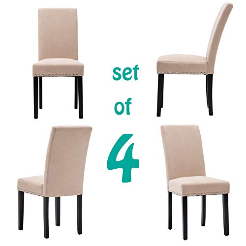 GOTMINSI Upholstered Dining Chairs Padded Parson Chair with Silver Nails and Solid Wood Legs Set of 4 (Beige)