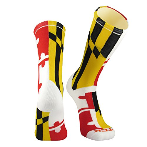TCK Maryland Flag Crew Socks, White, Large
