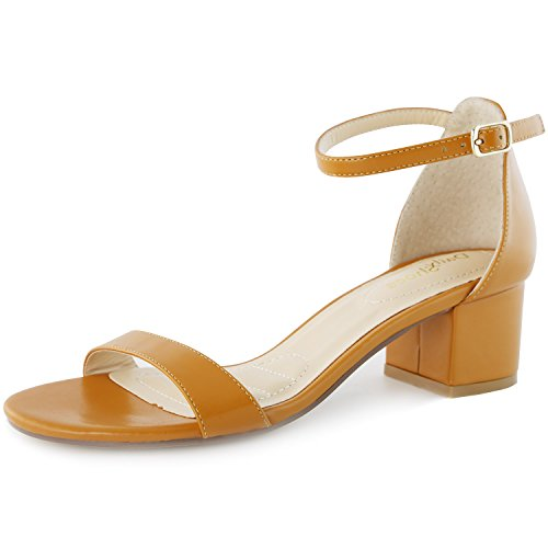 DailyShoes Women's Strappy High Heels with Chunky Heel - 2 Inch Heel - Leather Counter Back - Extra Pad Insert - Great for Day and Night Wear, Tan PU, 11 B(M) US