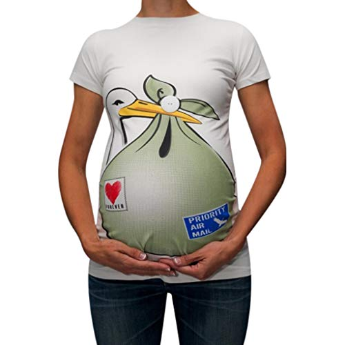 (WUAI Maternity T Shirt, Womens Funny Novelty Graphic Pregnant Tops Blouse Plus)