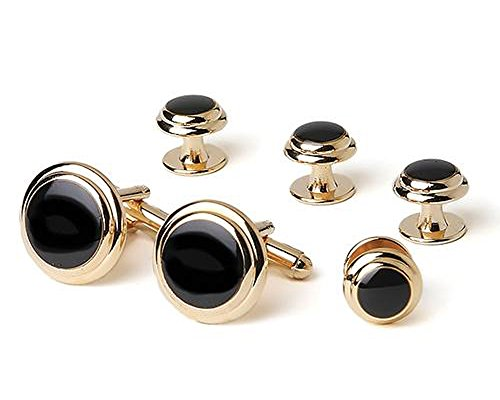 Two Tier Faux Onyx Gold Tuxedo Cufflinks and - Faux Gold Cufflinks