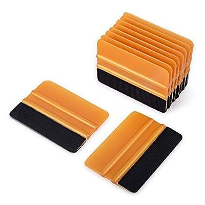 Ehdis [10PCS Felt Edge Squeegee 4 inch for Car Vinyl Scraper Decal Applicator Tool with Black Fabric Felt Edge - Gold PP Scraper: Automotive